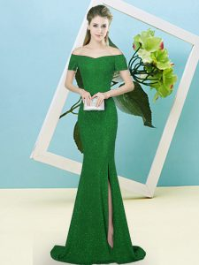 Fashion Short Sleeves Sequins Zipper Glitz Pageant Dress with Green Sweep Train