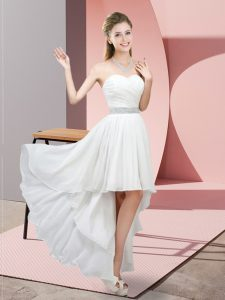 White Custom Made Pageant Dress Prom and Party with Beading Sweetheart Sleeveless Lace Up
