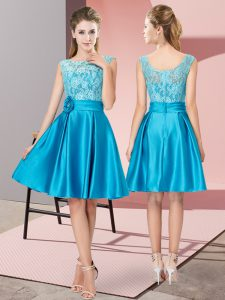 Blue A-line Lace and Hand Made Flower Pageant Dress for Teens Zipper Satin Sleeveless Knee Length