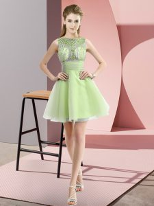 Elegant Beading and Bowknot Pageant Gowns Yellow Green Zipper Sleeveless Mini Length