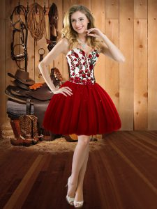 Shining Sweetheart Sleeveless Lace Up Pageant Dress for Womens Wine Red Tulle