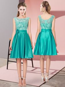 Turquoise A-line Bateau Sleeveless Satin Mini Length Zipper Lace and Hand Made Flower Glitz Pageant Dress