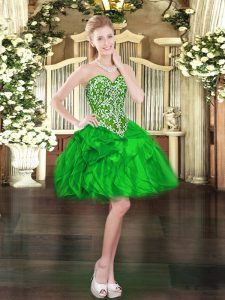 Green Ball Gowns Organza Sweetheart Sleeveless Beading and Ruffles Mini Length Lace Up Pageant Dress for Teens