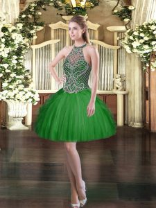 Beauteous Tulle Halter Top Sleeveless Lace Up Beading and Ruffles Pageant Dress Womens in Dark Green
