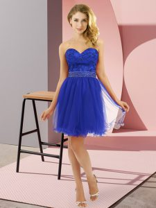 Charming Blue Sleeveless Tulle Zipper Pageant Dress Womens for Prom and Party
