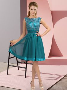 Beauteous Chiffon Sleeveless Knee Length High School Pageant Dress and Appliques