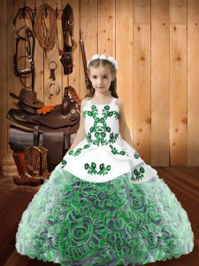 Multi-color Sleeveless Embroidery and Ruffles Floor Length Little Girls Pageant Dress