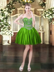 Fantastic Green Ball Gowns Satin Sweetheart Sleeveless Beading Mini Length Lace Up Pageant Dress for Womens