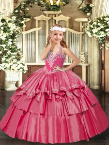 Graceful V-neck Sleeveless Lace Up Little Girl Pageant Gowns Hot Pink Organza