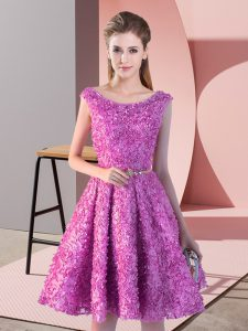 Lilac Evening Gowns Prom and Party with Belt Scoop Sleeveless Lace Up