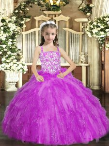 Graceful Lilac Ball Gowns Straps Sleeveless Organza Floor Length Lace Up Beading and Ruffles Child Pageant Dress