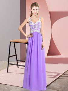 Lavender Chiffon Zipper V-neck Sleeveless Floor Length Pageant Dress for Teens Lace
