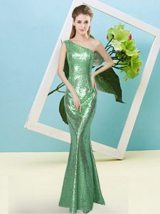 Sequined One Shoulder Sleeveless Zipper Sequins Pageant Dress for Womens in Turquoise