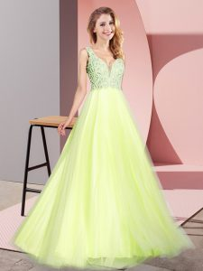 Decent Tulle V-neck Sleeveless Zipper Lace Pageant Dress Wholesale in Light Yellow