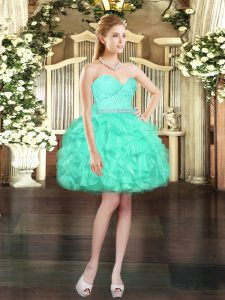 Pretty Mini Length Lace Up Pageant Dress for Teens Aqua Blue for Prom and Party with Beading and Lace and Ruffles