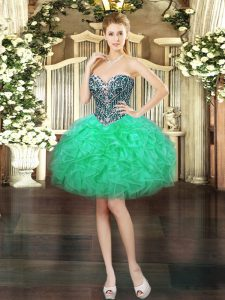Organza Sweetheart Sleeveless Lace Up Beading and Ruffles High School Pageant Dress in Turquoise