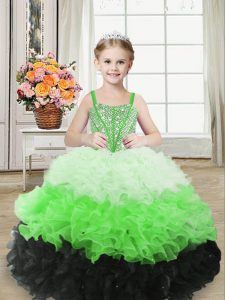 Multi-color Lace Up Straps Beading and Ruffles Evening Gowns Organza Sleeveless