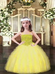 Charming Sleeveless Floor Length Beading and Ruffles Lace Up Little Girls Pageant Dress with Yellow