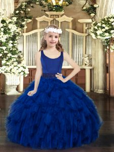 Latest Royal Blue Zipper Scoop Beading and Ruffles Pageant Dress for Teens Organza Sleeveless