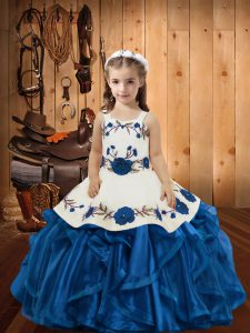 High Quality Embroidery and Ruffles Child Pageant Dress Blue Lace Up Sleeveless Floor Length