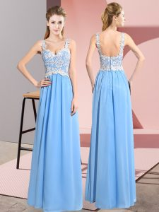 Aqua Blue Sleeveless Lace Floor Length Pageant Dresses