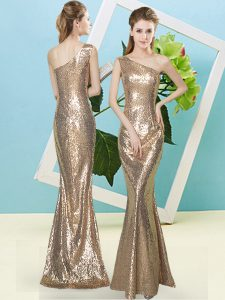 Glorious One Shoulder Sleeveless Pageant Dress Floor Length Sequins Gold Sequined