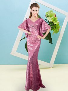 High Quality Half Sleeves Sequins Zipper Winning Pageant Gowns