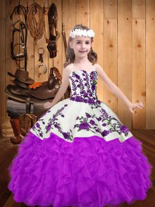 Floor Length Purple Flower Girl Dresses Organza Sleeveless Beading and Embroidery and Ruffles