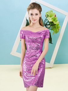 Cute Sequined Short Sleeves Mini Length Pageant Dress Wholesale and Sequins