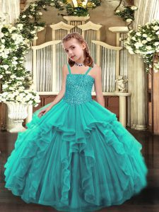 Teal Ball Gowns Beading and Ruffles Winning Pageant Gowns Lace Up Organza Sleeveless Floor Length