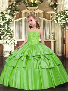 Simple Ball Gowns Little Girls Pageant Gowns Yellow Green Straps Taffeta Sleeveless Floor Length Lace Up