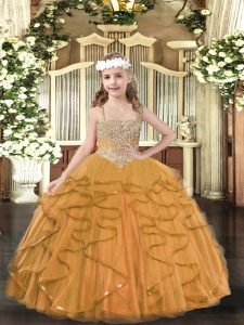 Beauteous Orange Sleeveless Tulle Lace Up Toddler Flower Girl Dress for Military Ball and Sweet 16 and Quinceanera and Wedding Party