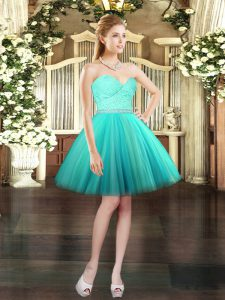Eye-catching Sleeveless Tulle Mini Length Lace Up Pageant Dress for Womens in Aqua Blue with Beading and Lace