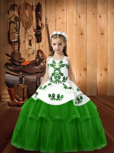 Embroidery Kids Pageant Dress Lace Up Sleeveless Floor Length