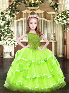 Hot Sale Sleeveless Beading and Ruffled Layers Floor Length Little Girl Pageant Dress