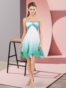 Charming Asymmetrical Multi-color Pageant Dress Womens Fading Color Sleeveless Beading