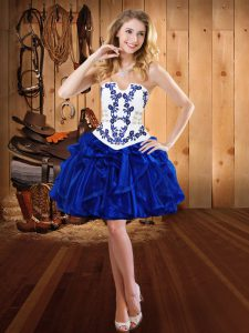 Royal Blue Ball Gowns Embroidery and Ruffles Evening Gowns Lace Up Organza Sleeveless Mini Length