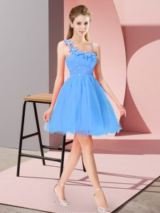 Sweet Baby Blue Sleeveless Beading and Hand Made Flower Mini Length Pageant Dress for Teens