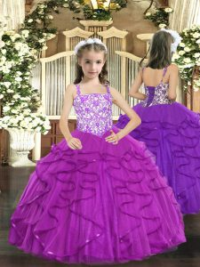 Excellent Purple Tulle Lace Up Straps Sleeveless Floor Length Winning Pageant Gowns Beading and Ruffles