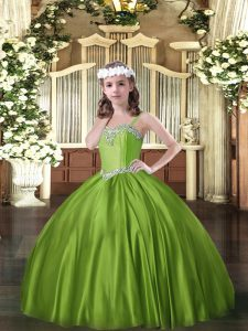 Fashionable Olive Green Sleeveless Floor Length Beading Lace Up Girls Pageant Dresses