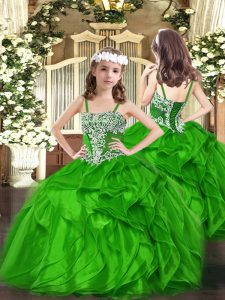 Green Girls Pageant Dresses Party and Quinceanera with Appliques and Ruffles Straps Sleeveless Lace Up
