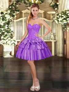 Fantastic Eggplant Purple Sleeveless Beading and Ruffled Layers Mini Length Pageant Dress Womens