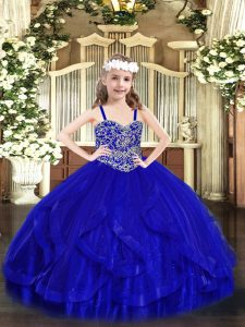 Low Price Tulle Straps Sleeveless Lace Up Beading and Ruffles Pageant Dress for Teens in Royal Blue