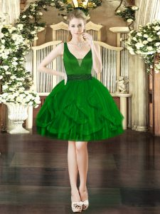 Sleeveless Lace Up Mini Length Beading and Ruffles Pageant Dresses