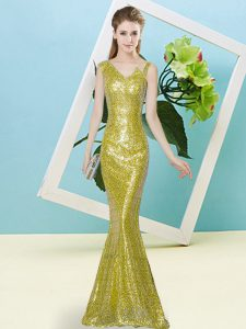Custom Designed Yellow Sequined Zipper Pageant Dresses Sleeveless Floor Length Sequins