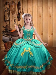 Aqua Blue Ball Gowns Satin Off The Shoulder Sleeveless Beading and Embroidery Floor Length Lace Up Little Girls Pageant Dress