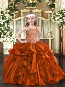 Enchanting Rust Red Lace Up Straps Beading and Embroidery and Ruffles Flower Girl Dresses Organza Sleeveless