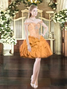 Extravagant Orange Red Off The Shoulder Lace Up Beading and Ruffles Custom Made Pageant Dress Sleeveless