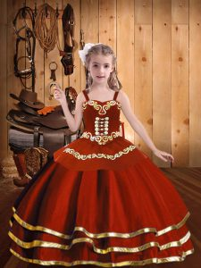 Super Floor Length Rust Red Kids Formal Wear Straps Sleeveless Lace Up