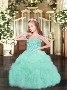 Apple Green Spaghetti Straps Lace Up Beading and Ruffles and Pick Ups Child Pageant Dress Sleeveless